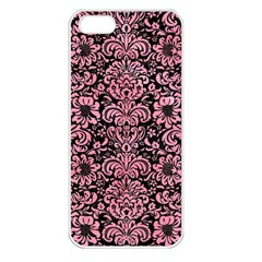 Damask2 Black Marble & Pink Watercolor (r) Apple Iphone 5 Seamless Case (white) by trendistuff