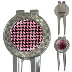 Houndstooth1 Black Marble & Pink Watercolor 3 In 1 Golf Divots by trendistuff