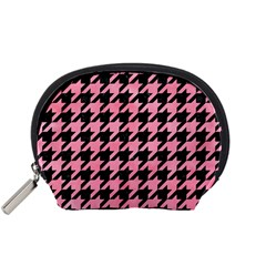 Houndstooth1 Black Marble & Pink Watercolor Accessory Pouches (small)  by trendistuff