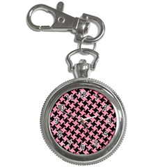 Houndstooth2 Black Marble & Pink Watercolor Key Chain Watches by trendistuff