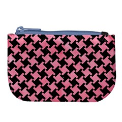 Houndstooth2 Black Marble & Pink Watercolor Large Coin Purse by trendistuff