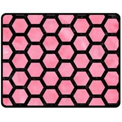 Hexagon2 Black Marble & Pink Watercolor Fleece Blanket (medium)  by trendistuff
