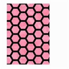 Hexagon2 Black Marble & Pink Watercolor Large Garden Flag (two Sides) by trendistuff