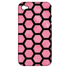Hexagon2 Black Marble & Pink Watercolor Apple Iphone 4/4s Hardshell Case (pc+silicone) by trendistuff