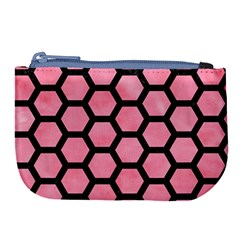 Hexagon2 Black Marble & Pink Watercolor Large Coin Purse by trendistuff