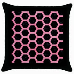 Hexagon2 Black Marble & Pink Watercolor (r) Throw Pillow Case (black) by trendistuff