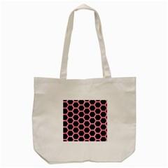 Hexagon2 Black Marble & Pink Watercolor (r) Tote Bag (cream) by trendistuff