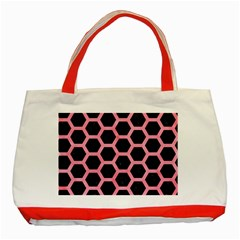 Hexagon2 Black Marble & Pink Watercolor (r) Classic Tote Bag (red)