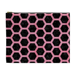 Hexagon2 Black Marble & Pink Watercolor (r) Cosmetic Bag (xl) by trendistuff