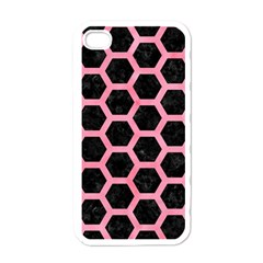 Hexagon2 Black Marble & Pink Watercolor (r) Apple Iphone 4 Case (white) by trendistuff
