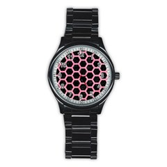 Hexagon2 Black Marble & Pink Watercolor (r) Stainless Steel Round Watch by trendistuff