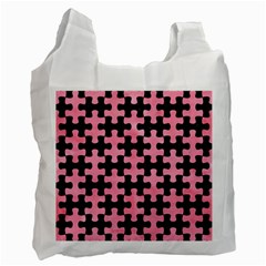 Puzzle1 Black Marble & Pink Watercolor Recycle Bag (two Side)  by trendistuff