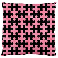 Puzzle1 Black Marble & Pink Watercolor Large Cushion Case (two Sides) by trendistuff