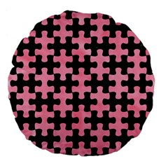 Puzzle1 Black Marble & Pink Watercolor Large 18  Premium Flano Round Cushions by trendistuff