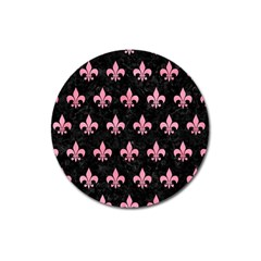Royal1 Black Marble & Pink Watercolor Magnet 3  (round) by trendistuff