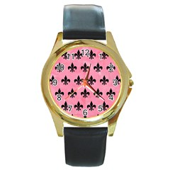 Royal1 Black Marble & Pink Watercolor (r) Round Gold Metal Watch by trendistuff