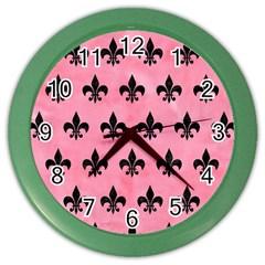 Royal1 Black Marble & Pink Watercolor (r) Color Wall Clocks by trendistuff