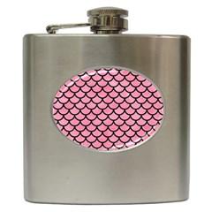 Scales1 Black Marble & Pink Watercolor Hip Flask (6 Oz) by trendistuff