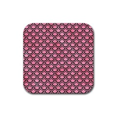 Scales2 Black Marble & Pink Watercolor Rubber Square Coaster (4 Pack)  by trendistuff
