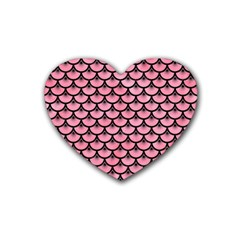 Scales3 Black Marble & Pink Watercolor Heart Coaster (4 Pack)  by trendistuff