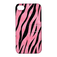 Skin3 Black Marble & Pink Watercolor Apple Iphone 4/4s Hardshell Case With Stand by trendistuff