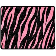 Skin3 Black Marble & Pink Watercolor (r) Fleece Blanket (medium)  by trendistuff