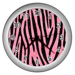 Skin4 Black Marble & Pink Watercolor (r) Wall Clocks (silver)  by trendistuff