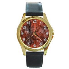 Grannys Hut   Structure 3c Round Gold Metal Watch by MoreColorsinLife