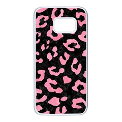 Skin5 Black Marble & Pink Watercolor Samsung Galaxy S7 White Seamless Case by trendistuff