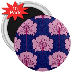 Beautiful Art Nouvea Floral Pattern 3  Magnets (10 Pack)  by 8fugoso