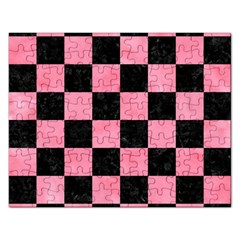 Square1 Black Marble & Pink Watercolor Rectangular Jigsaw Puzzl by trendistuff