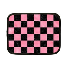 Square1 Black Marble & Pink Watercolor Netbook Case (small)  by trendistuff