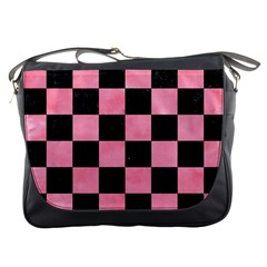 Square1 Black Marble & Pink Watercolor Messenger Bags by trendistuff