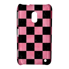 Square1 Black Marble & Pink Watercolor Nokia Lumia 620 by trendistuff
