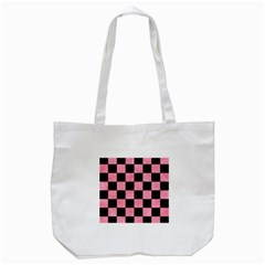 Square1 Black Marble & Pink Watercolor Tote Bag (white) by trendistuff