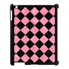 Square2 Black Marble & Pink Watercolor Apple Ipad 3/4 Case (black) by trendistuff