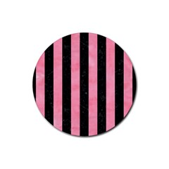 Stripes1 Black Marble & Pink Watercolor Rubber Round Coaster (4 Pack)  by trendistuff