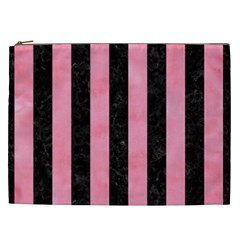Stripes1 Black Marble & Pink Watercolor Cosmetic Bag (xxl)