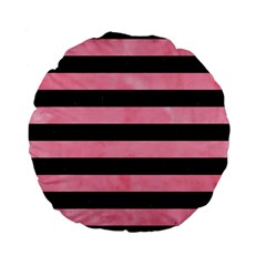Stripes2 Black Marble & Pink Watercolor Standard 15  Premium Flano Round Cushions by trendistuff
