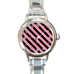 Stripes3 Black Marble & Pink Watercolor Round Italian Charm Watch by trendistuff