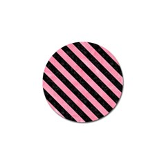 Stripes3 Black Marble & Pink Watercolor Golf Ball Marker by trendistuff