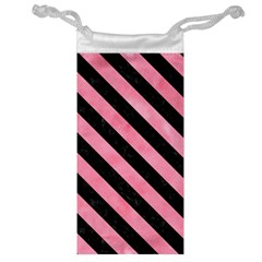 Stripes3 Black Marble & Pink Watercolor Jewelry Bag by trendistuff