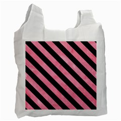 Stripes3 Black Marble & Pink Watercolor Recycle Bag (two Side)  by trendistuff