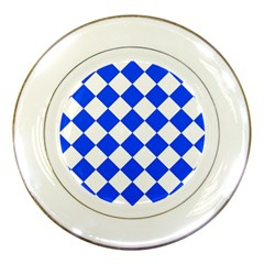 Blue White Diamonds Seamless Porcelain Plates by Onesevenart