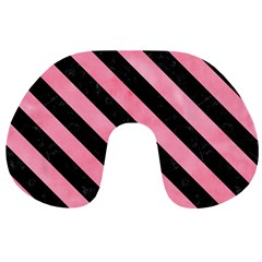 Stripes3 Black Marble & Pink Watercolor Travel Neck Pillows by trendistuff