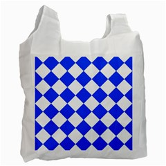 Blue White Diamonds Seamless Recycle Bag (one Side) by Onesevenart