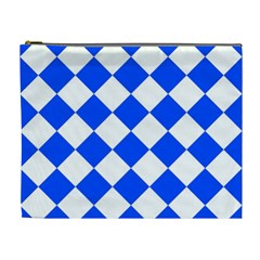 Blue White Diamonds Seamless Cosmetic Bag (xl) by Onesevenart