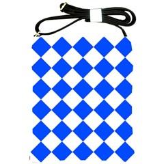 Blue White Diamonds Seamless Shoulder Sling Bags by Onesevenart