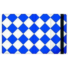 Blue White Diamonds Seamless Apple Ipad 2 Flip Case by Onesevenart