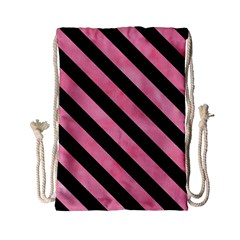 Stripes3 Black Marble & Pink Watercolor Drawstring Bag (small) by trendistuff